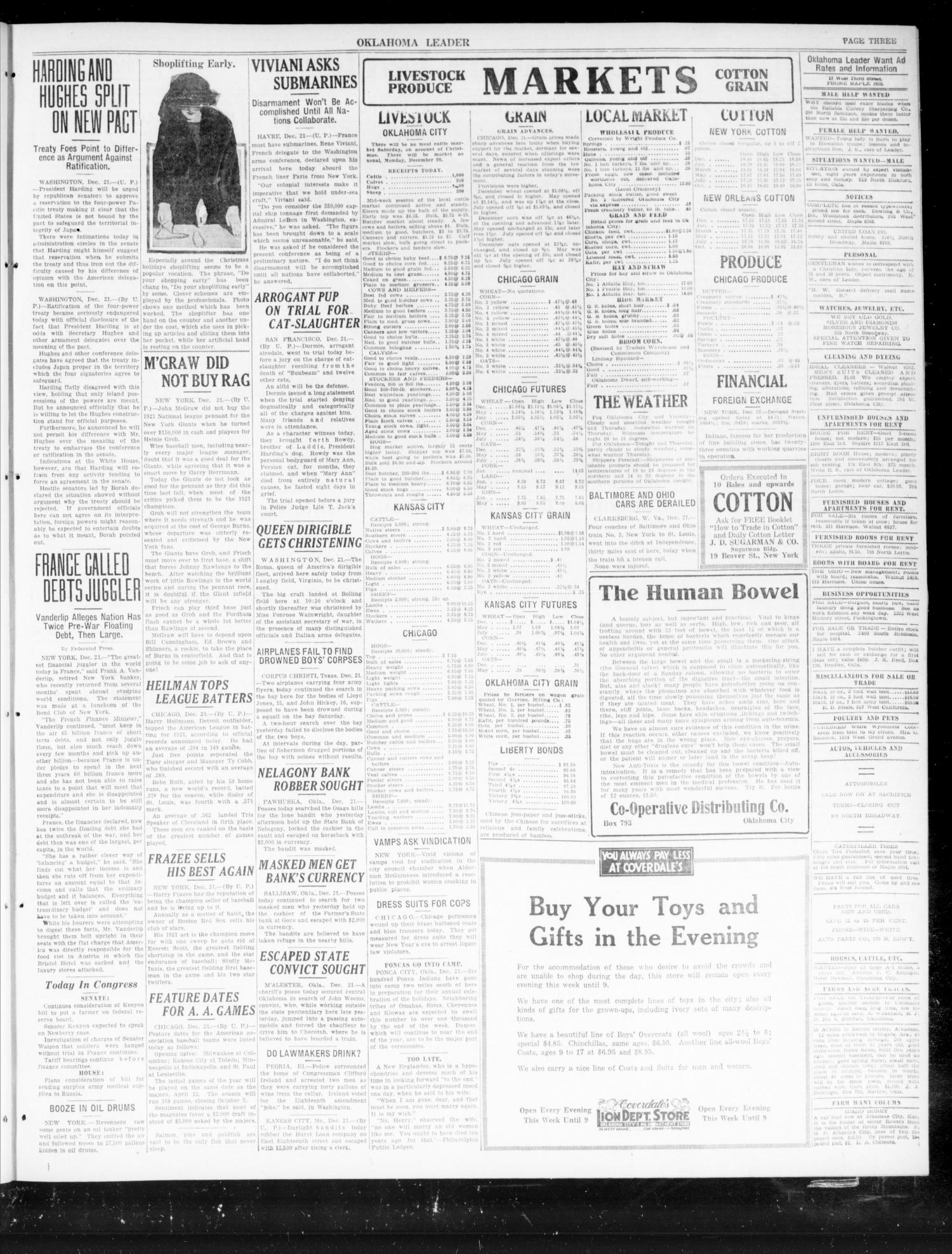 Oklahoma Leader (Oklahoma City, Okla.), Vol. 2, No. 110, Ed. 1 Wednesday, December 21, 1921                                                                                                      [Sequence #]: 3 of 4