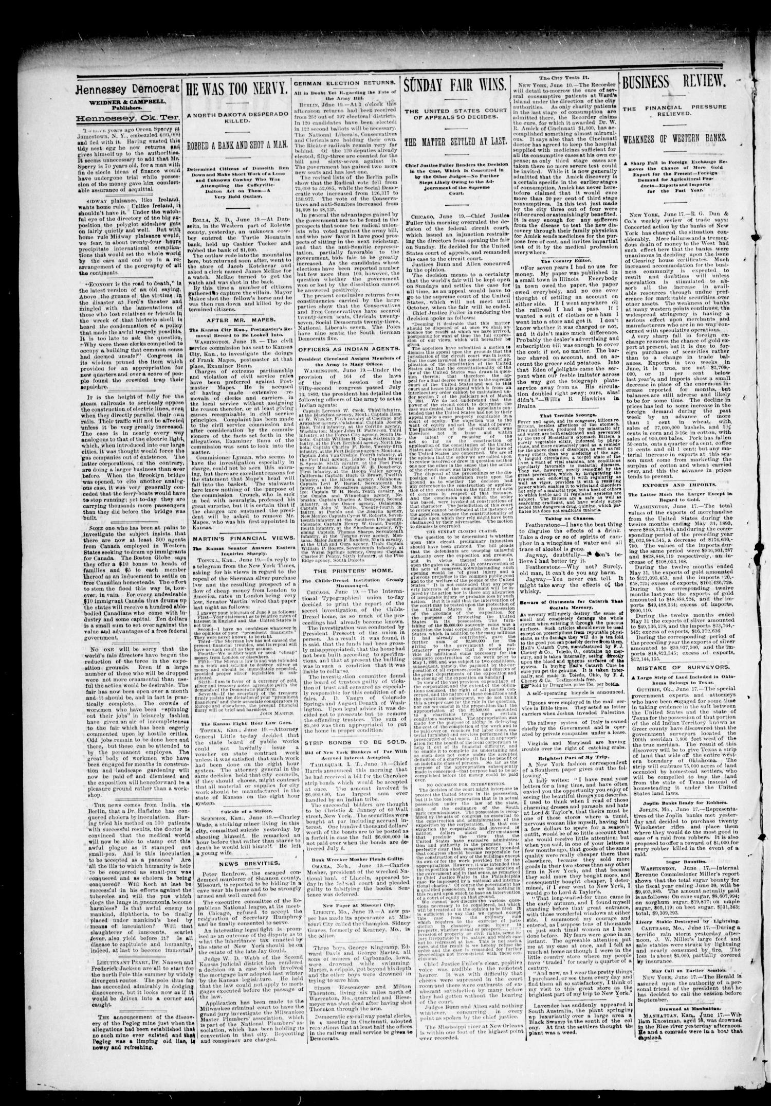 The Hennessey Democrat. (Hennessey, Okla. Terr.), Vol. 1, No. 39, Ed. 1 Saturday, June 24, 1893                                                                                                      [Sequence #]: 2 of 8