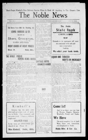 Primary view of object titled 'The Noble News (Noble, Okla.), Vol. 1, No. 1, Ed. 1 Thursday, January 12, 1911'.