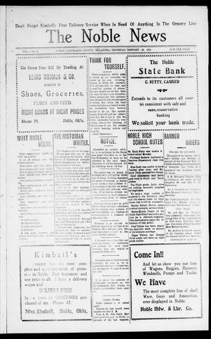Primary view of object titled 'The Noble News (Noble, Okla.), Vol. 1, No. 2, Ed. 1 Thursday, January 19, 1911'.