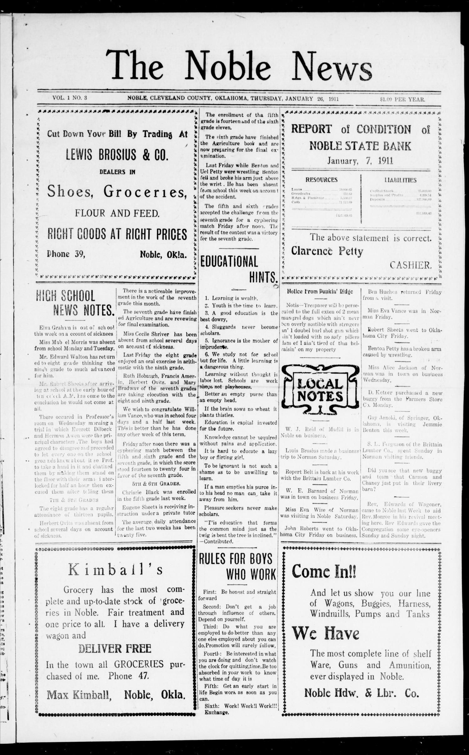 The Noble News (Noble, Okla.), Vol. 1, No. 3, Ed. 1 Thursday, January 26, 1911                                                                                                      [Sequence #]: 1 of 8
