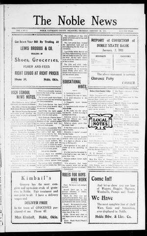 Primary view of object titled 'The Noble News (Noble, Okla.), Vol. 1, No. 3, Ed. 1 Thursday, January 26, 1911'.