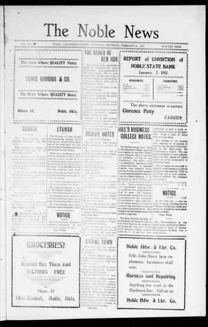 Primary view of object titled 'The Noble News (Noble, Okla.), Vol. 1, No. 7, Ed. 1 Thursday, February 23, 1911'.