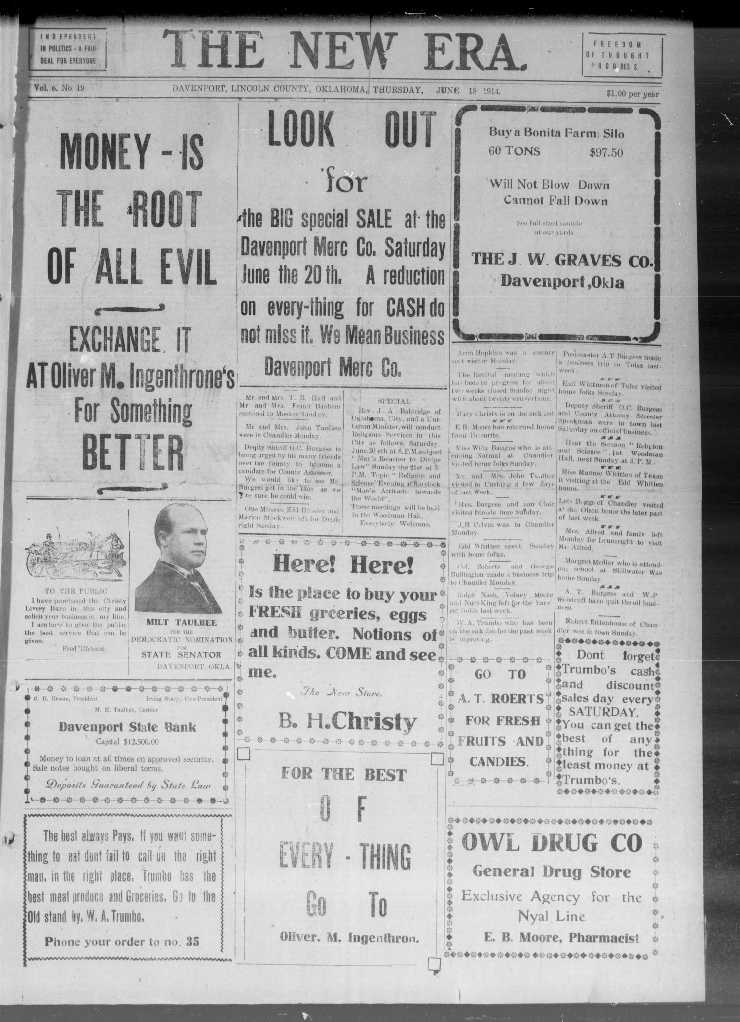 The New Era. (Davenport, Okla.), Vol. 6, No. 19, Ed. 1 Thursday, June 18, 1914                                                                                                      [Sequence #]: 1 of 8