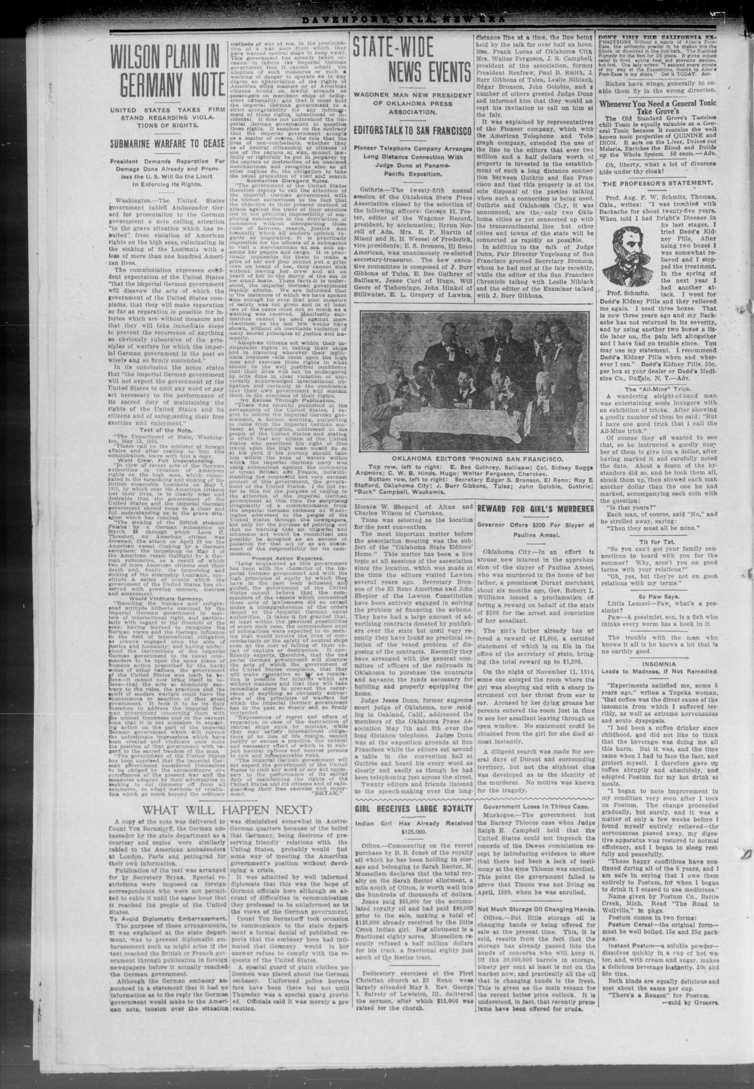 The Davenport New Era (Davenport, Okla.), Vol. 7, No. 15, Ed. 1 Thursday, May 20, 1915                                                                                                      [Sequence #]: 2 of 7