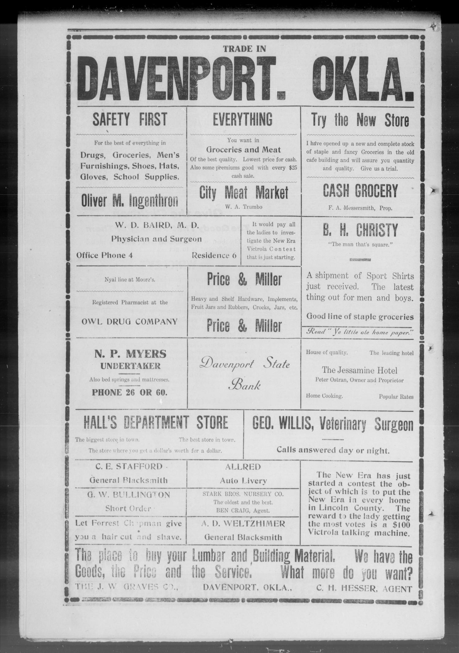 The New Era. (Davenport, Okla.), Vol. 7, No. 29, Ed. 1 Thursday, August 26, 1915                                                                                                      [Sequence #]: 8 of 8