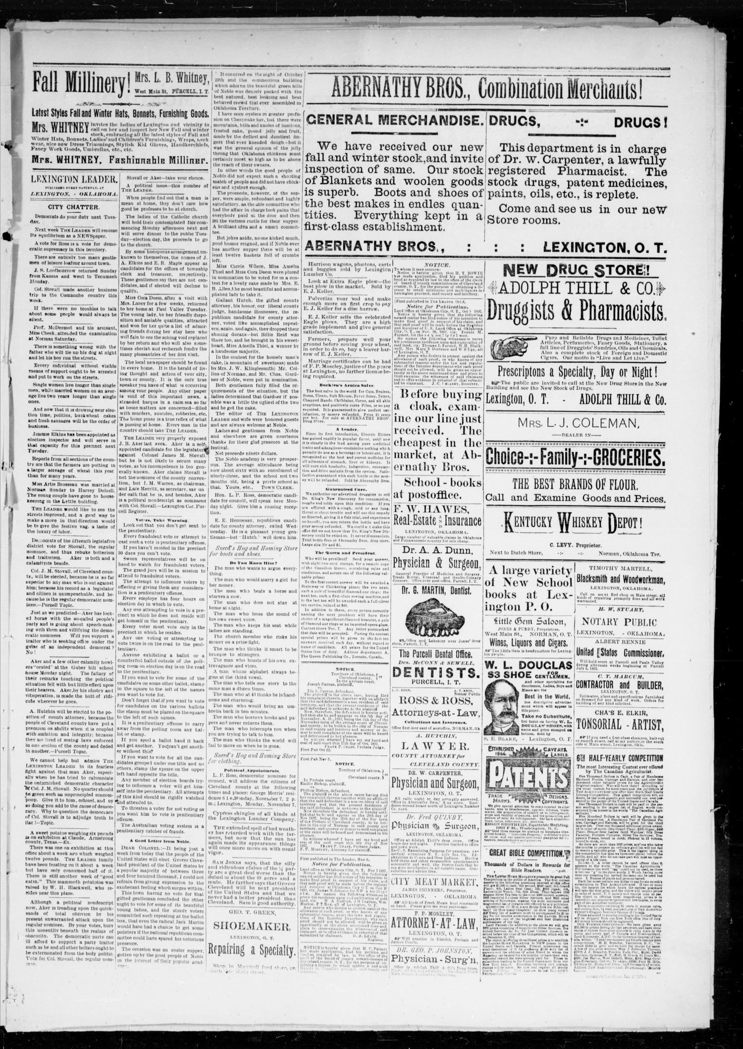 Lexington Leader. (Lexington, Okla. Terr.), Vol. 2, No. 32, Ed. 1 Saturday, November 5, 1892                                                                                                      [Sequence #]: 5 of 6