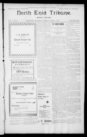 Primary view of object titled 'North Enid Tribune. Weekly Edition. (North Enid, Okla.), Vol. 1, No. 26, Ed. 1 Thursday, April 5, 1894'.