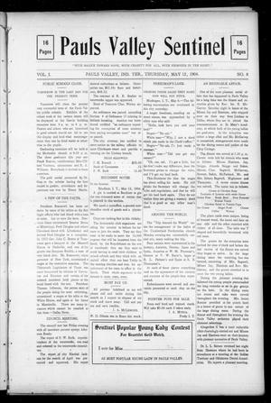 Primary view of object titled 'Pauls Valley Sentinel (Pauls Valley, Indian Terr.), Vol. 1, No. 8, Ed. 1 Thursday, May 12, 1904'.