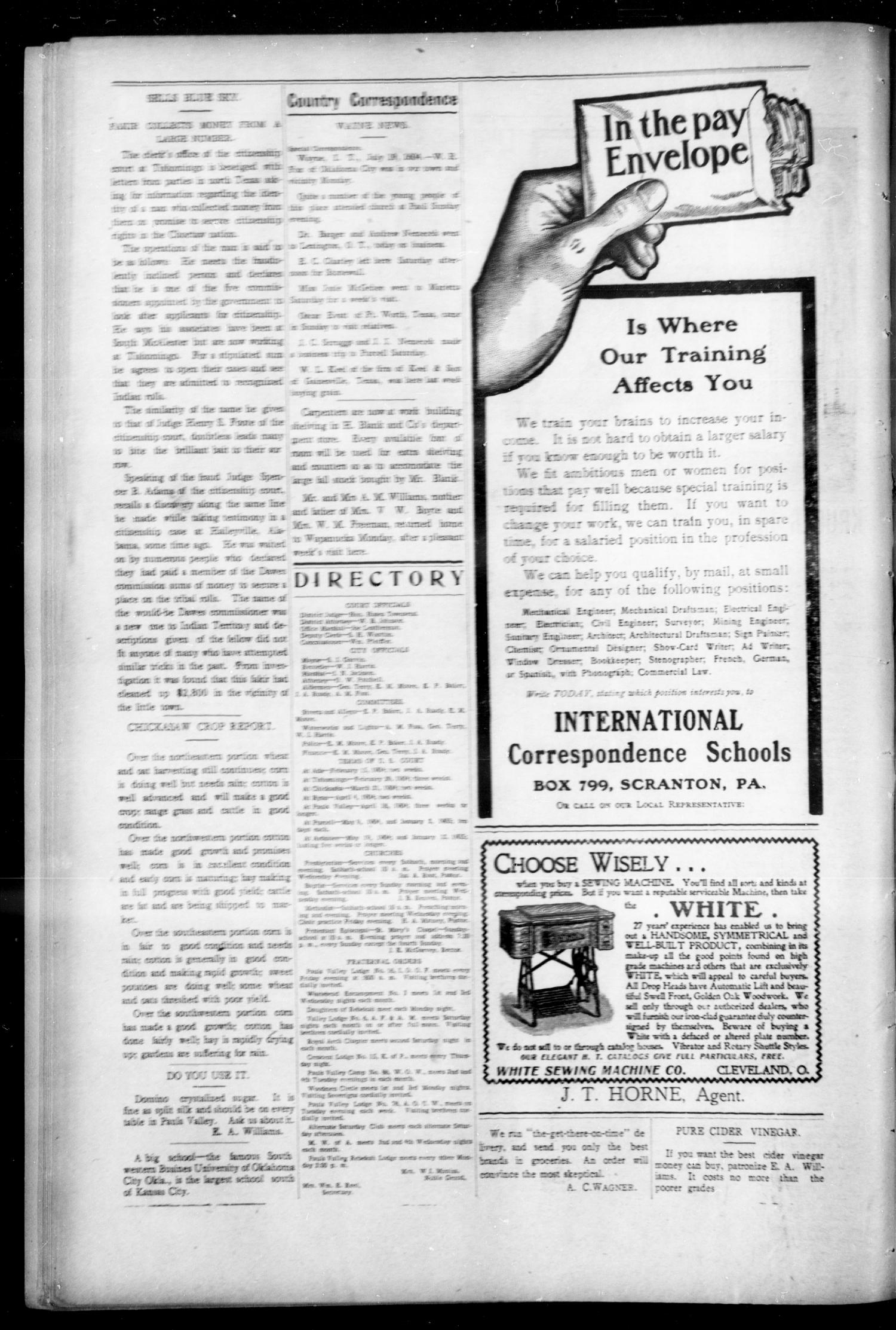 Pauls Valley Sentinel (Pauls Valley, Indian Terr ), Vol  1, No  18