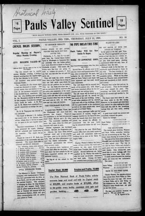 Pauls Valley Sentinel (Pauls Valley, Indian Terr.), Vol. 1, No. 18, Ed. 1 Thursday, July 21, 1904