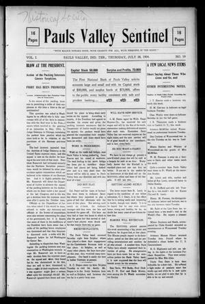 Primary view of object titled 'Pauls Valley Sentinel (Pauls Valley, Indian Terr.), Vol. 1, No. 19, Ed. 1 Thursday, July 28, 1904'.