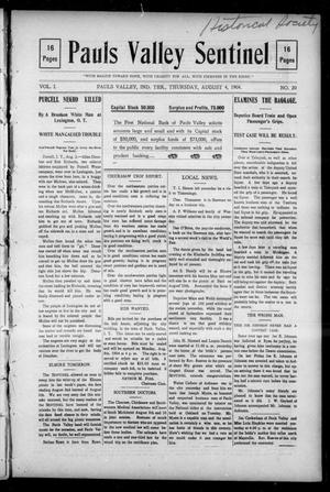 Primary view of object titled 'Pauls Valley Sentinel (Pauls Valley, Indian Terr.), Vol. 1, No. 20, Ed. 1 Thursday, August 4, 1904'.