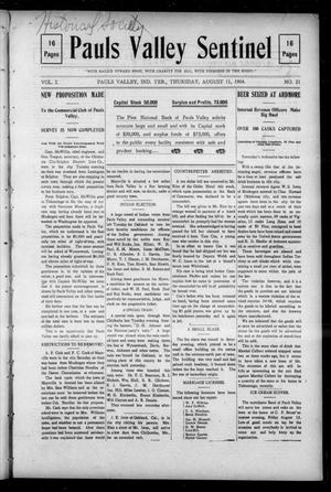 Primary view of object titled 'Pauls Valley Sentinel (Pauls Valley, Indian Terr.), Vol. 1, No. 21, Ed. 1 Thursday, August 11, 1904'.