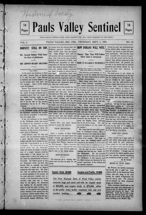 Primary view of object titled 'Pauls Valley Sentinel (Pauls Valley, Indian Terr.), Vol. 1, No. 24, Ed. 1 Thursday, September 1, 1904'.