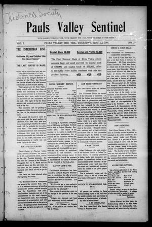 Primary view of object titled 'Pauls Valley Sentinel (Pauls Valley, Indian Terr.), Vol. 1, No. 27, Ed. 1 Thursday, September 22, 1904'.