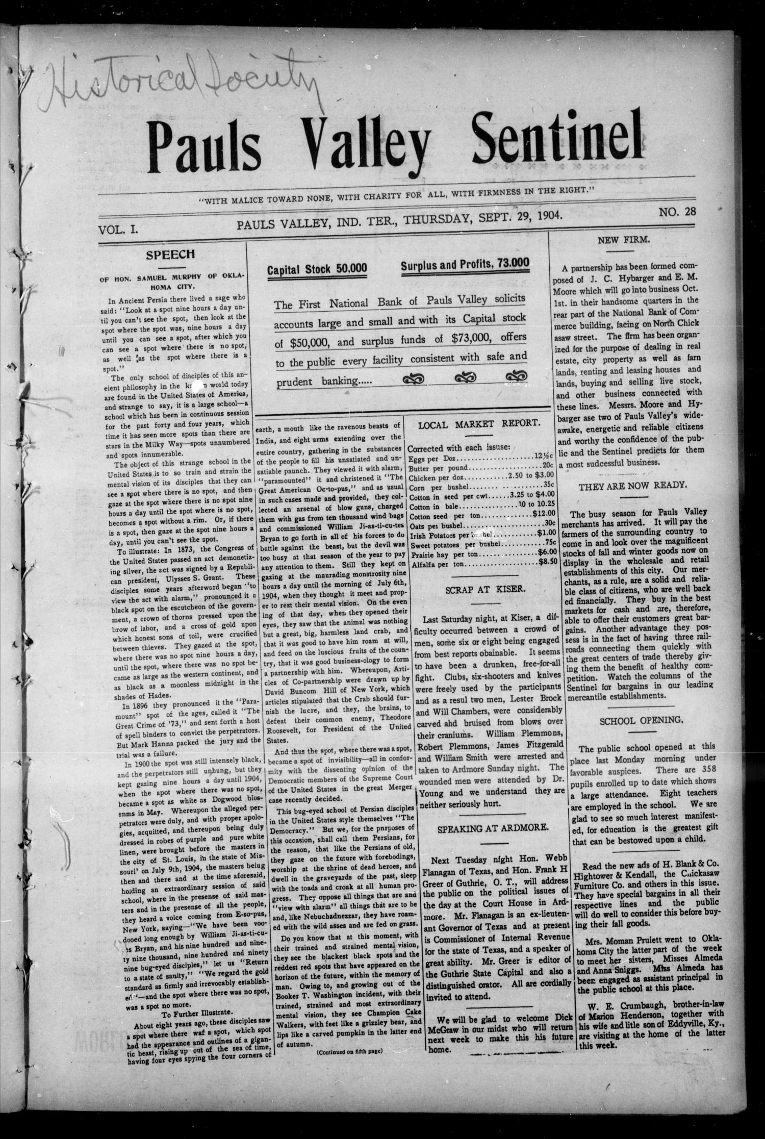 Pauls Valley Sentinel (Pauls Valley, Indian Terr.), Vol. 1, No. 28, Ed. 1 Thursday, September 29, 1904                                                                                                      [Sequence #]: 1 of 16