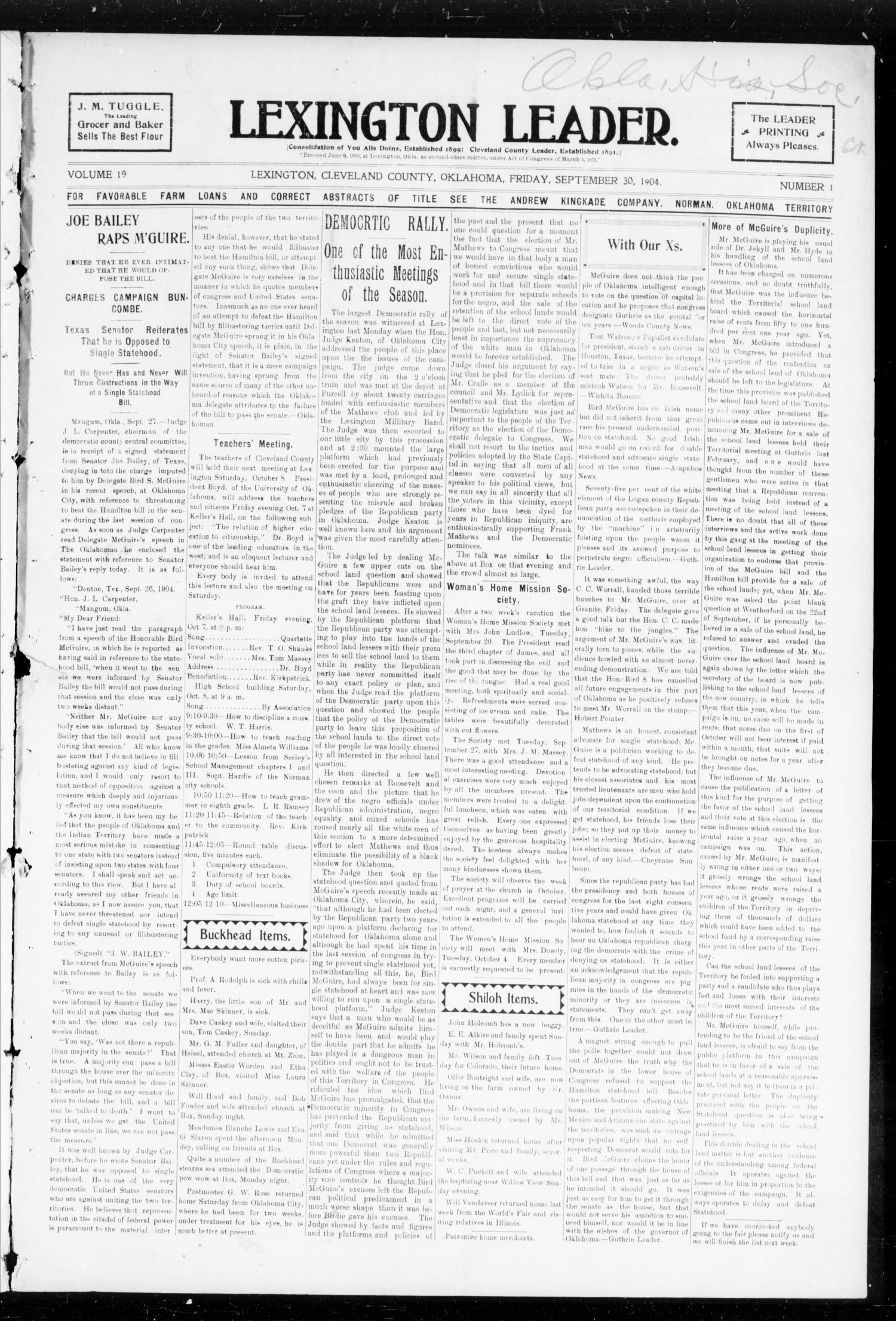 Lexington Leader. (Lexington, Okla.), Vol. 19, No. 1, Ed. 1 Friday, September 30, 1904                                                                                                      [Sequence #]: 1 of 10