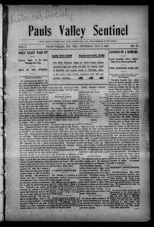 Primary view of object titled 'Pauls Valley Sentinel (Pauls Valley, Indian Terr.), Vol. 1, No. 29, Ed. 1 Thursday, October 6, 1904'.