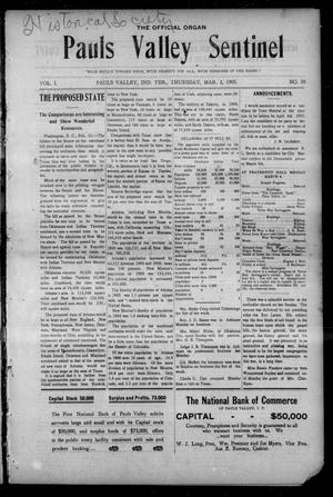 Primary view of object titled 'Pauls Valley Sentinel (Pauls Valley, Indian Terr.), Vol. 1, No. 50, Ed. 1 Thursday, March 2, 1905'.