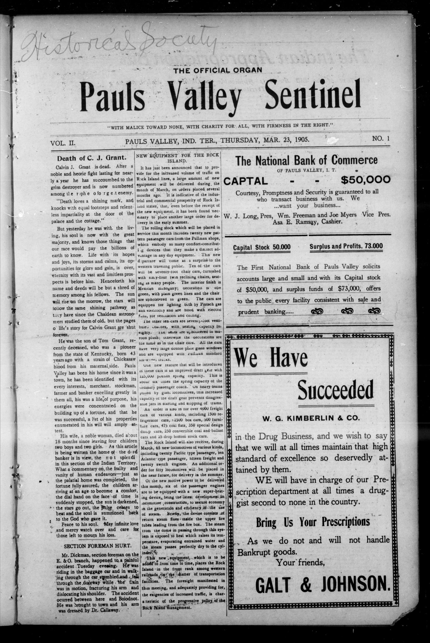 Pauls Valley Sentinel (Pauls Valley, Indian Terr.), Vol. 2, No. 1, Ed. 1 Thursday, March 23, 1905                                                                                                      [Sequence #]: 1 of 16