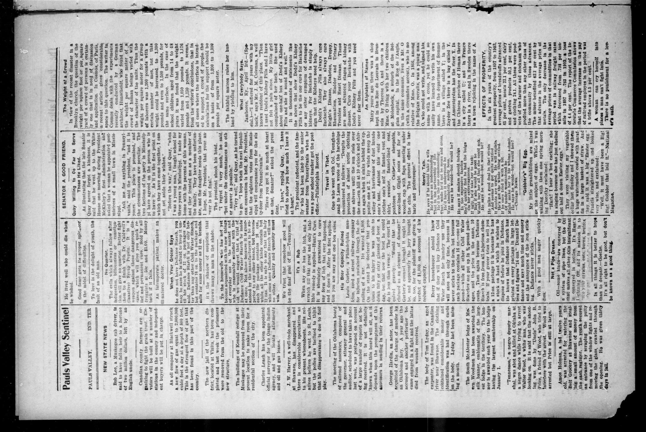 Pauls Valley Sentinel (Pauls Valley, Indian Terr.), Vol. 2, No. 3, Ed. 1 Thursday, April 6, 1905                                                                                                      [Sequence #]: 4 of 16