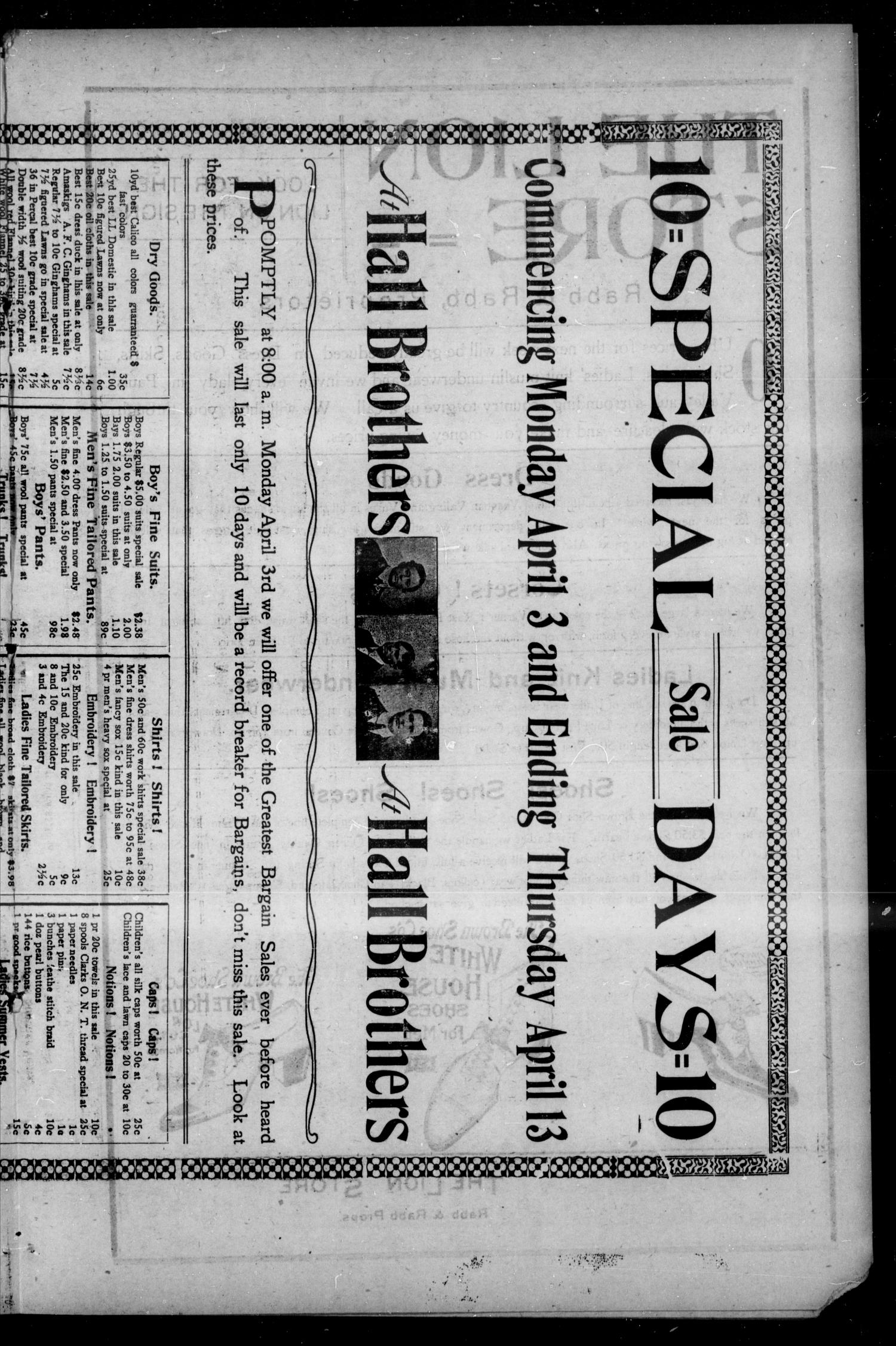 Pauls Valley Sentinel (Pauls Valley, Indian Terr.), Vol. 2, No. 3, Ed. 1 Thursday, April 6, 1905                                                                                                      [Sequence #]: 9 of 16
