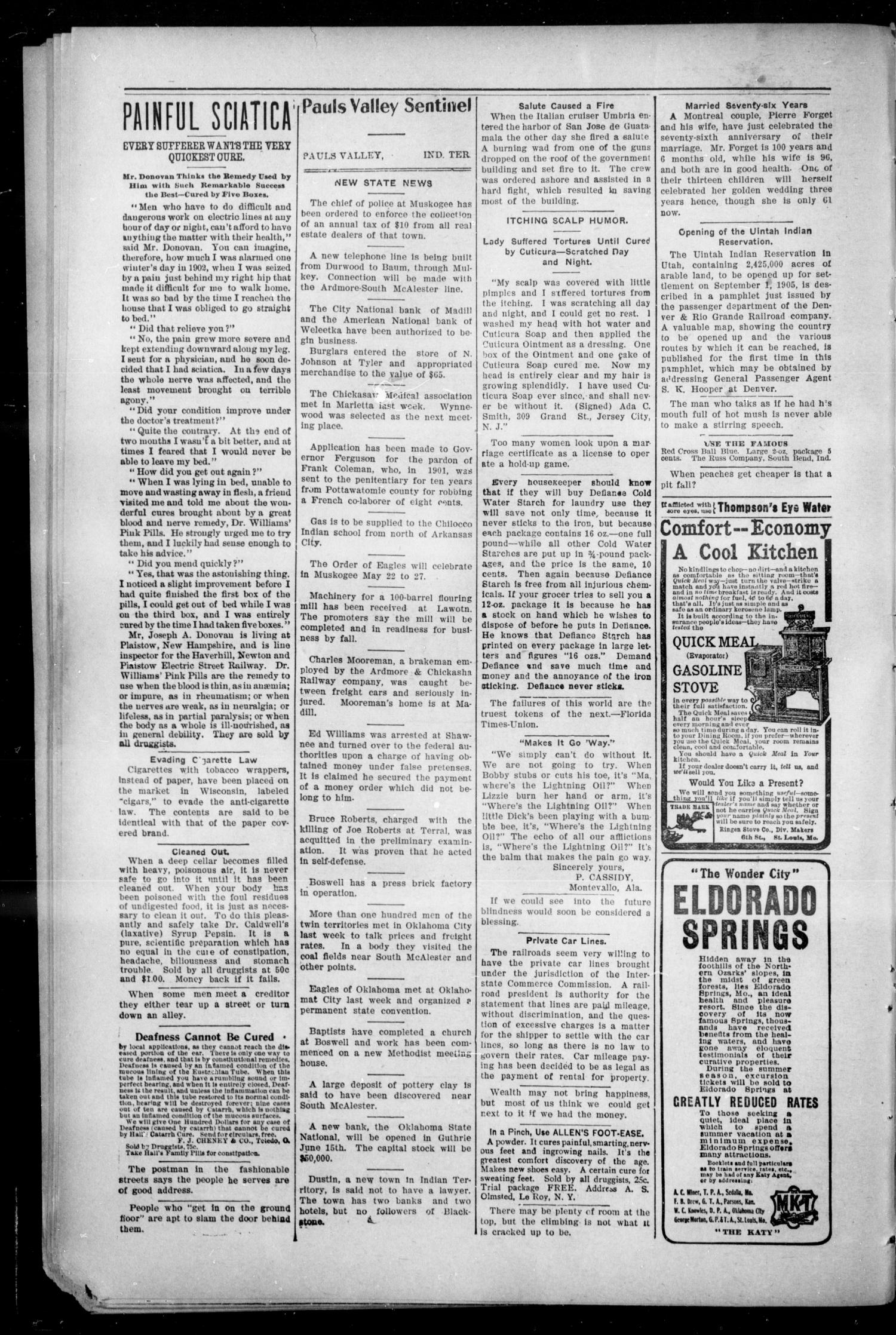 Pauls Valley Sentinel (Pauls Valley, Indian Terr.), Vol. 2, No. 9, Ed. 1 Thursday, May 18, 1905                                                                                                      [Sequence #]: 4 of 17