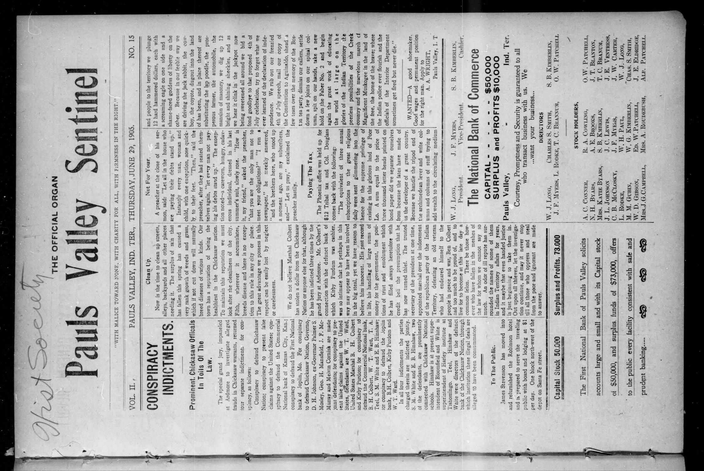 Pauls Valley Sentinel (Pauls Valley, Indian Terr.), Vol. 2, No. 15, Ed. 1 Thursday, June 29, 1905                                                                                                      [Sequence #]: 1 of 18