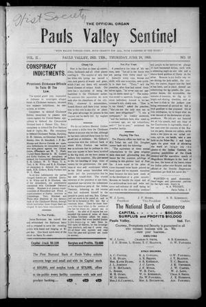 Primary view of object titled 'Pauls Valley Sentinel (Pauls Valley, Indian Terr.), Vol. 2, No. 15, Ed. 1 Thursday, June 29, 1905'.