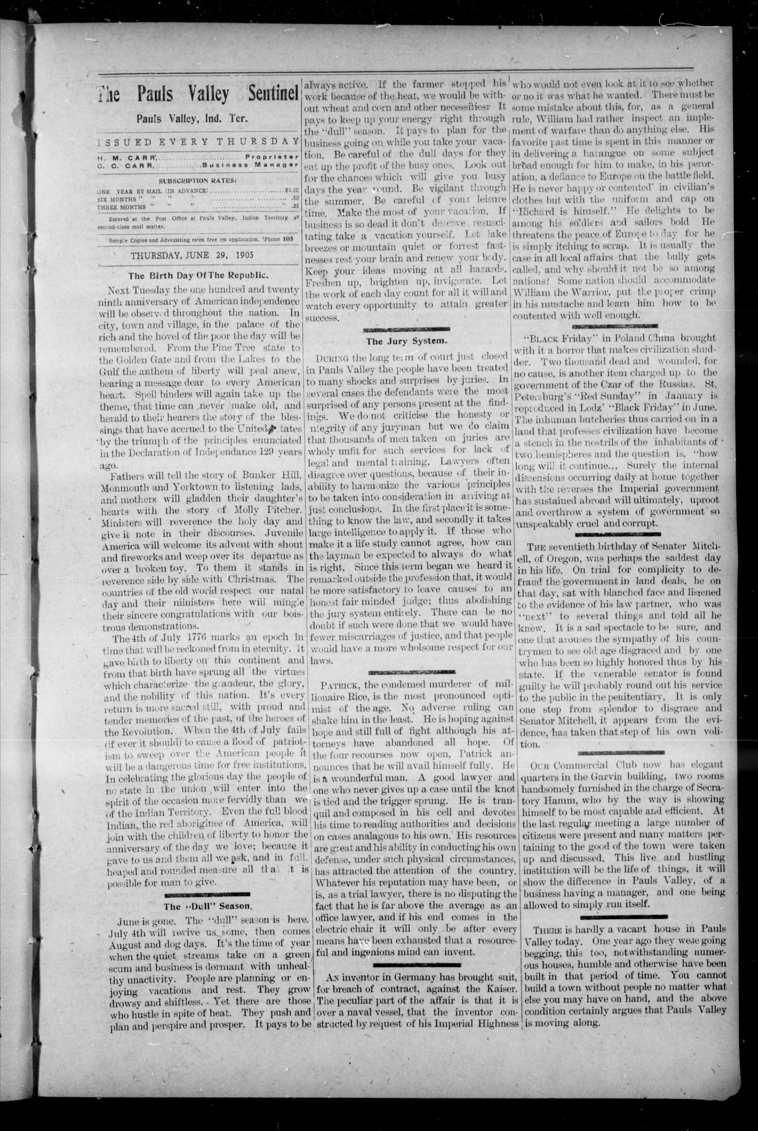 Pauls Valley Sentinel (Pauls Valley, Indian Terr.), Vol. 2, No. 15, Ed. 1 Thursday, June 29, 1905                                                                                                      [Sequence #]: 3 of 18