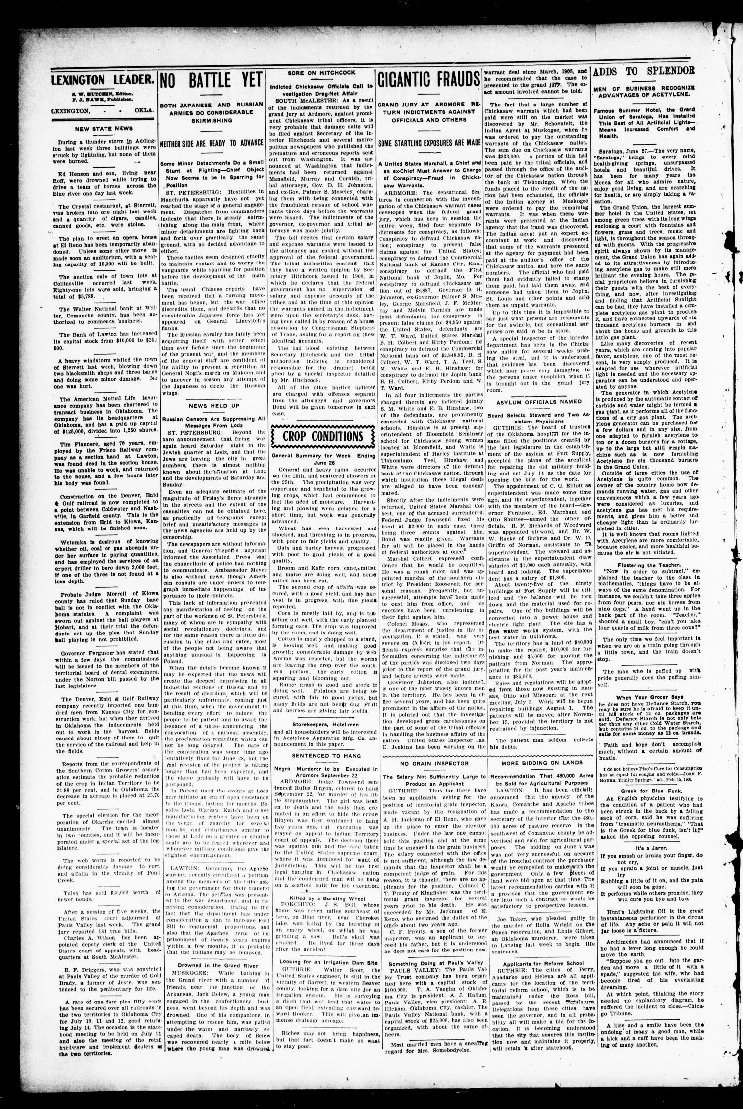 Lexington Leader. (Lexington, Okla.), Vol. 19, No. 40, Ed. 1 Friday, June 30, 1905                                                                                                      [Sequence #]: 2 of 10