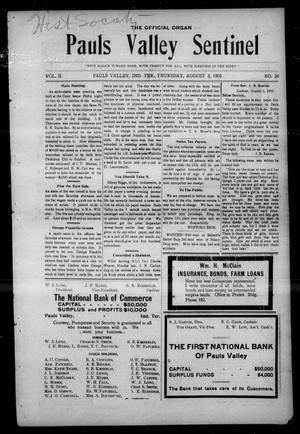 Pauls Valley Sentinel (Pauls Valley, Indian Terr.), Vol. 2, No. 20, Ed. 1 Thursday, August 3, 1905