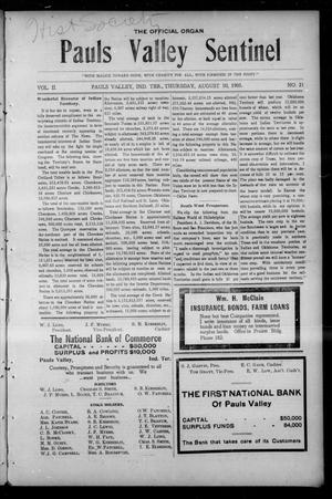 Pauls Valley Sentinel (Pauls Valley, Indian Terr.), Vol. 2, No. 21, Ed. 1 Thursday, August 10, 1905