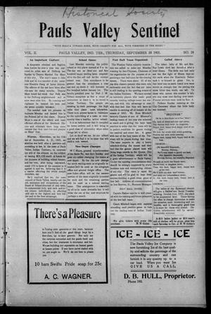Primary view of object titled 'Pauls Valley Sentinel (Pauls Valley, Indian Terr.), Vol. 2, No. 28, Ed. 1 Thursday, September 28, 1905'.