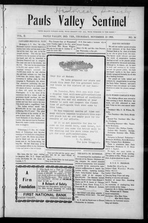 Primary view of object titled 'Pauls Valley Sentinel (Pauls Valley, Indian Terr.), Vol. 2, No. 36, Ed. 1 Thursday, November 23, 1905'.