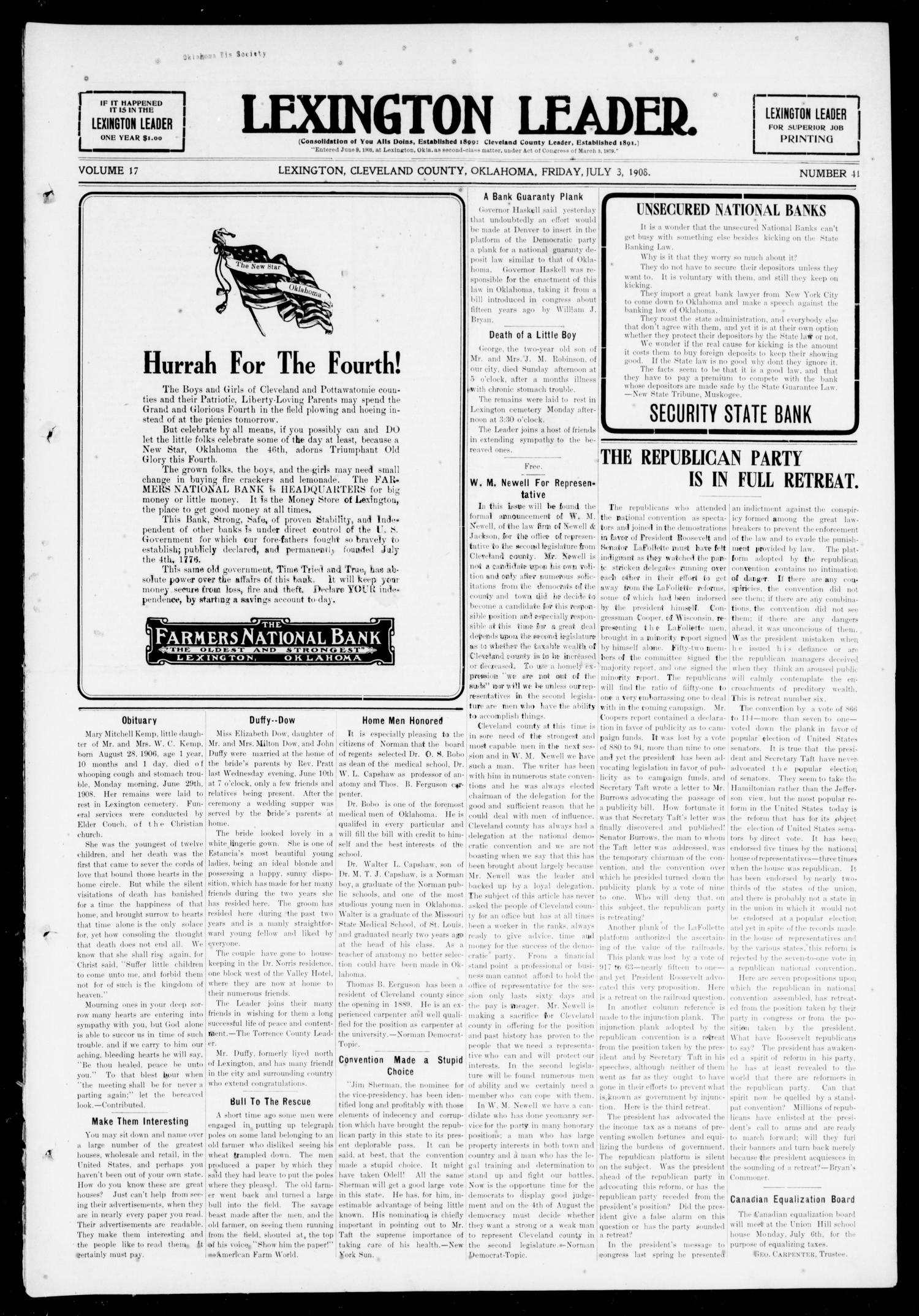 Lexington Leader. (Lexington, Okla.), Vol. 17, No. 41, Ed. 1 Friday, July 3, 1908                                                                                                      [Sequence #]: 1 of 8