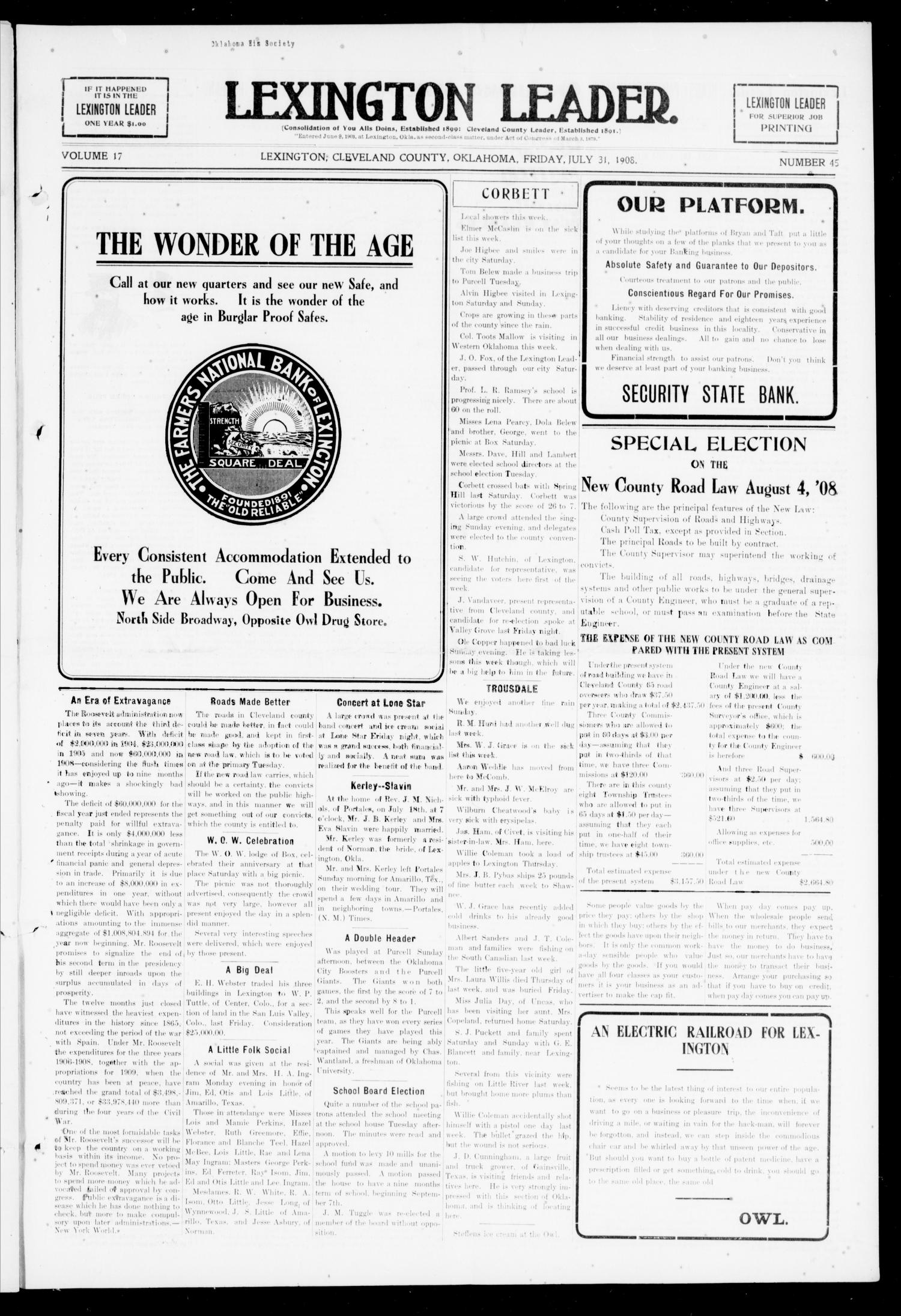 Lexington Leader  (Lexington, Okla ), Vol  17, No  45, Ed  1