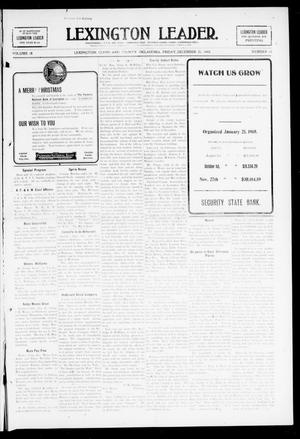 Primary view of object titled 'Lexington Leader. (Lexington, Okla.), Vol. 18, No. 14, Ed. 1 Friday, December 25, 1908'.