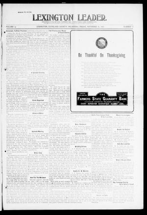 Primary view of object titled 'Lexington Leader. (Lexington, Okla.), Vol. 19, No. 10, Ed. 1 Friday, November 26, 1909'.