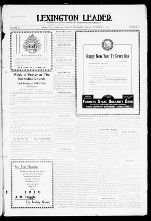 Primary view of object titled 'Lexington Leader. (Lexington, Okla.), Vol. 19, No. 15, Ed. 1 Friday, December 31, 1909'.