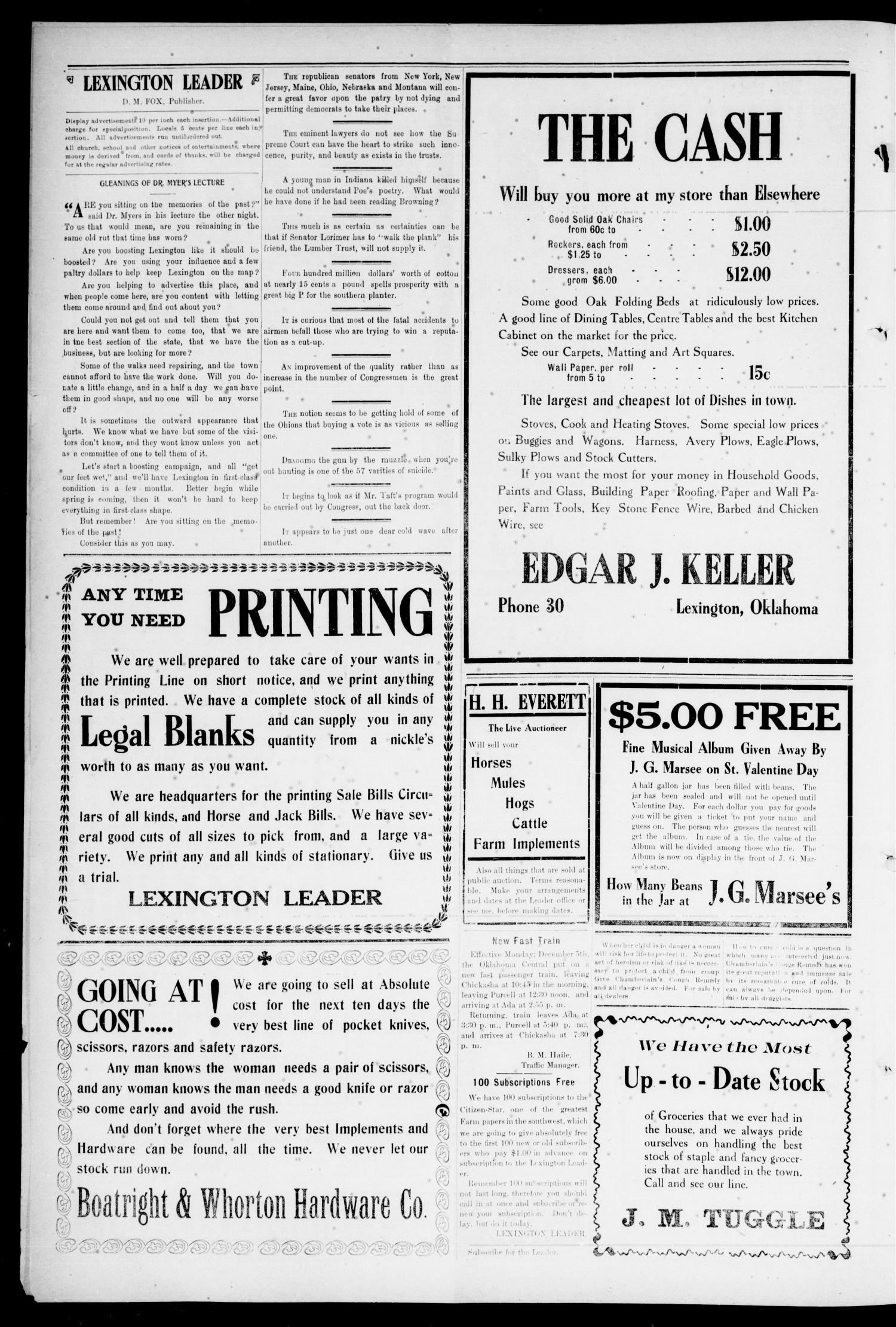 Lexington Leader. (Lexington, Okla.), Vol. 20, No. 20, Ed. 1 Friday, February 3, 1911                                                                                                      [Sequence #]: 4 of 8