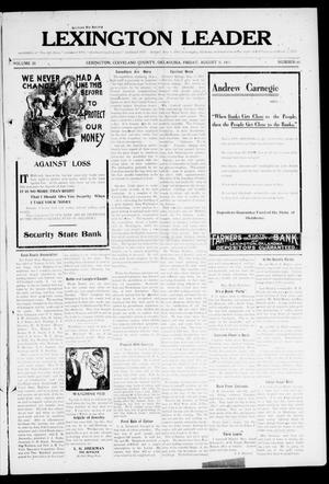 Lexington Leader (Lexington, Okla.), Vol. 20, No. 48, Ed. 1 Friday, August 18, 1911