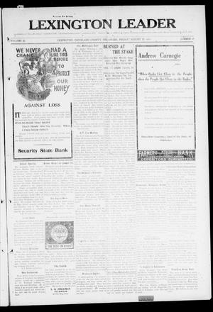 Primary view of object titled 'Lexington Leader (Lexington, Okla.), Vol. 20, No. 49, Ed. 1 Friday, August 25, 1911'.