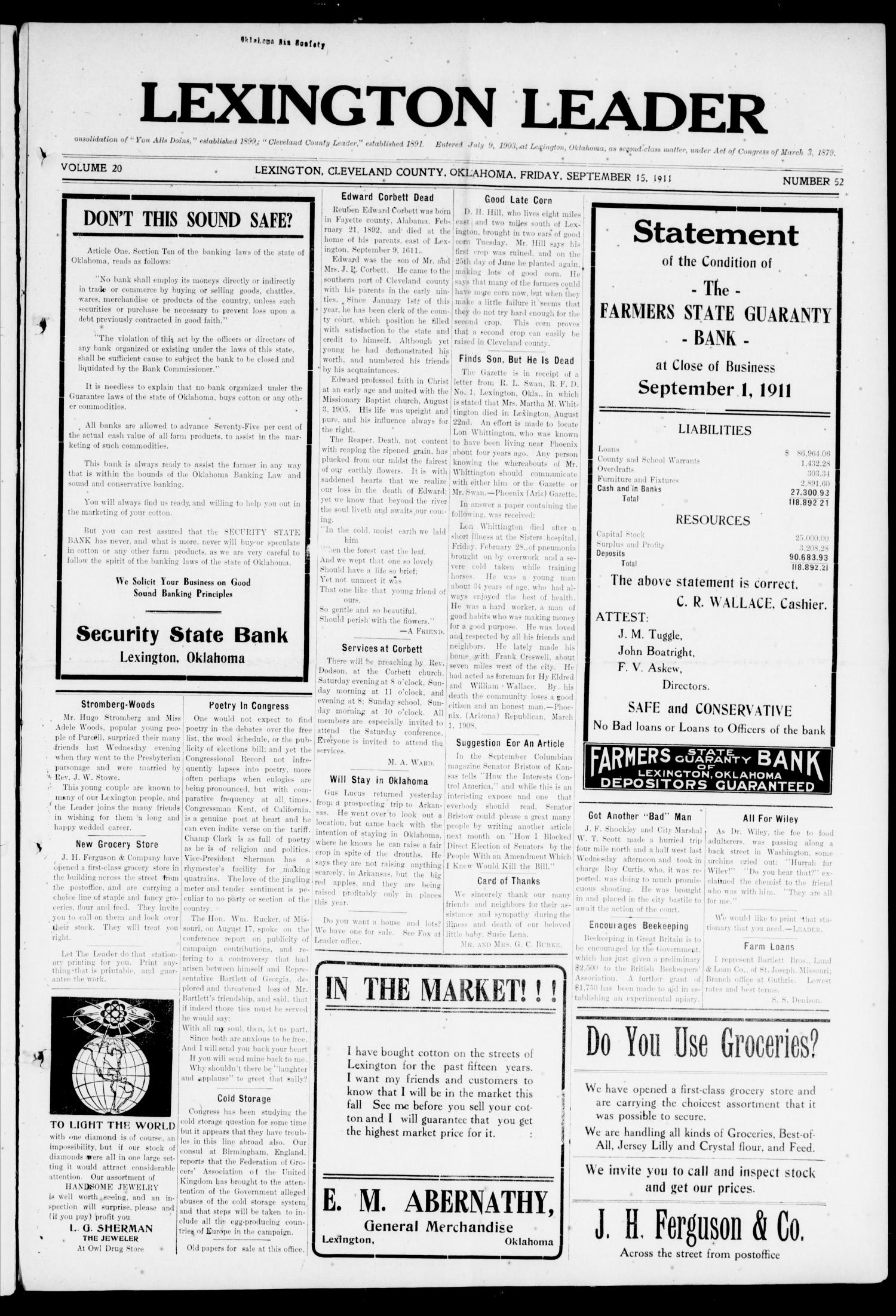 Lexington Leader (Lexington, Okla.), Vol. 20, No. 52, Ed. 1 Friday, September 15, 1911                                                                                                      [Sequence #]: 1 of 10