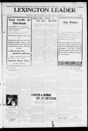 Primary view of object titled 'Lexington Leader (Lexington, Okla.), Vol. 21, No. 5, Ed. 1 Friday, October 20, 1911'.