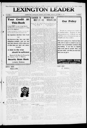 Lexington Leader (Lexington, Okla.), Vol. 21, No. 6, Ed. 1 Friday, October 27, 1911