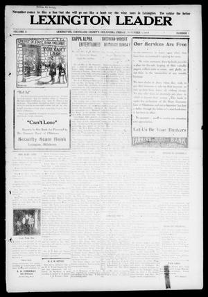 Primary view of object titled 'Lexington Leader (Lexington, Okla.), Vol. 21, No. 7, Ed. 1 Friday, November 3, 1911'.