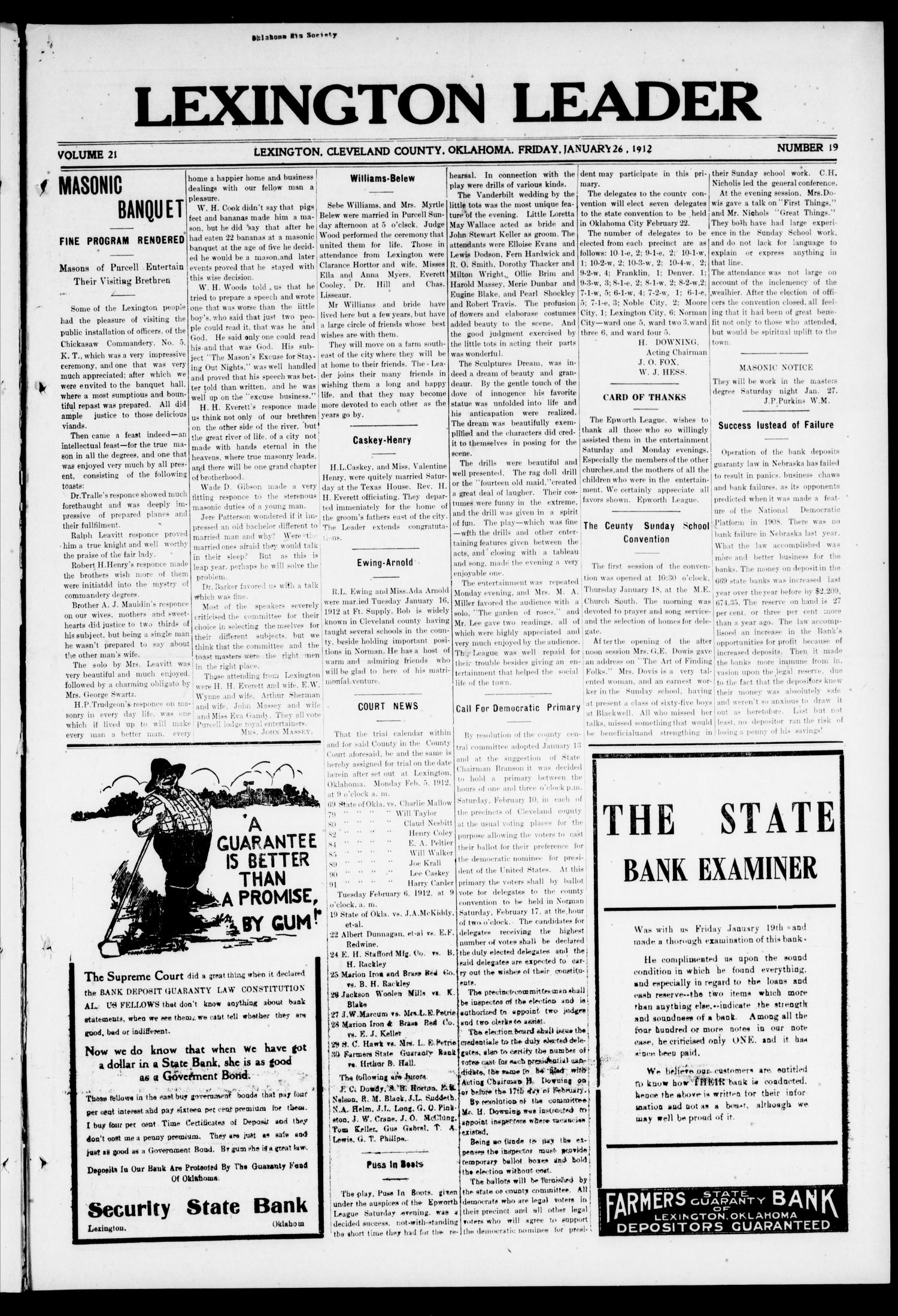 Lexington Leader (Lexington, Okla.), Vol. 21, No. 19, Ed. 1 Friday, January 26, 1912                                                                                                      [Sequence #]: 1 of 8