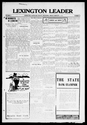 Primary view of object titled 'Lexington Leader (Lexington, Okla.), Vol. 21, No. 20, Ed. 1 Friday, February 2, 1912'.